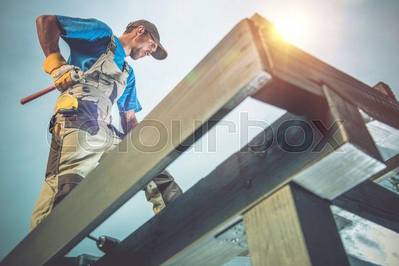 Wood Construction Works Caucasian Stock Image Colourbox