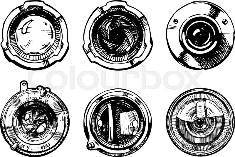 Grunge Camera Vector : Vector hand drawn illustration of the stock vector colourbox