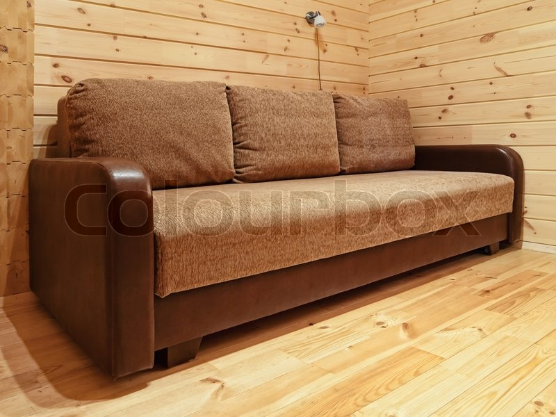 Single Sofa In The Log House Bedroom Stock Image Colourbox