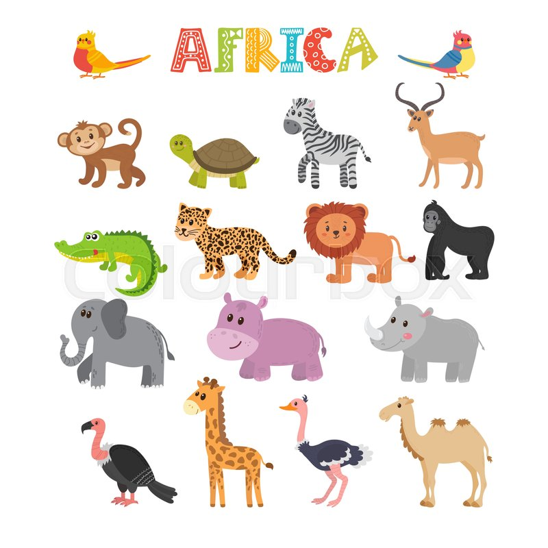 animals of africa vector set of cartoon jungle animals vector
