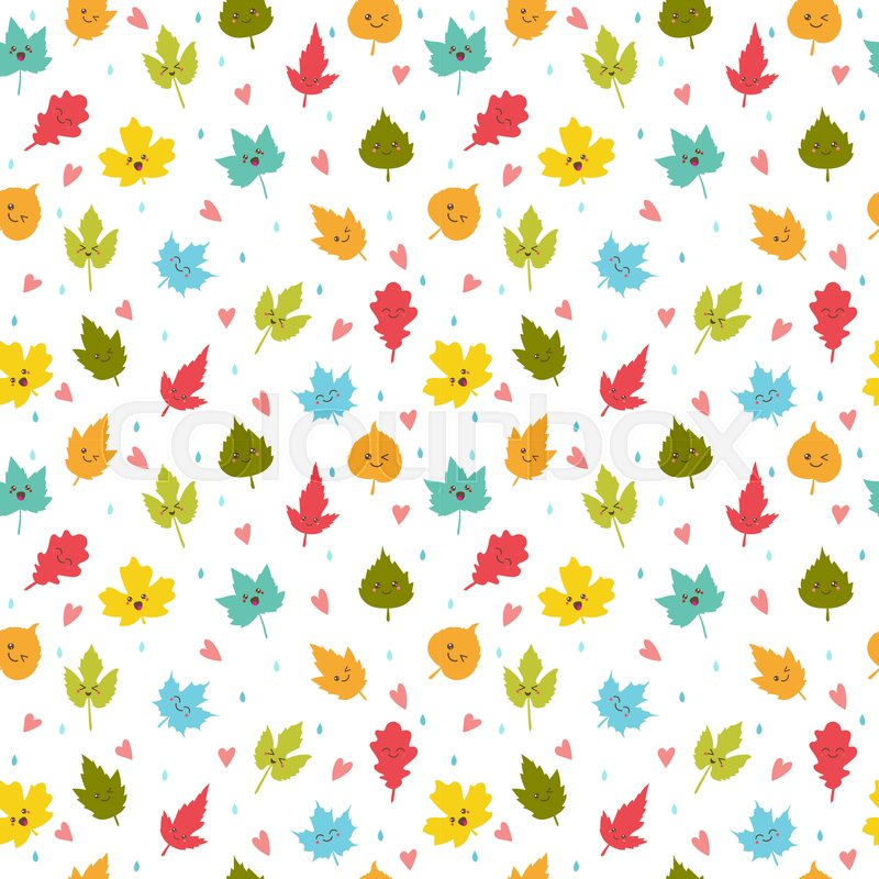 Seamless Pattern With Autumn Leaves Stock Vector Colourbox