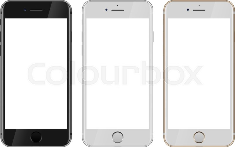 front view of black white and gold smartphone with blank white