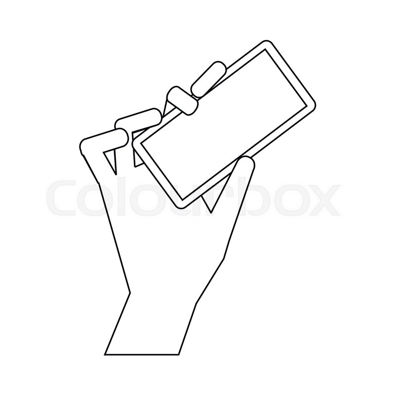 Cell phone in hand icon in outline style isolated on white ...