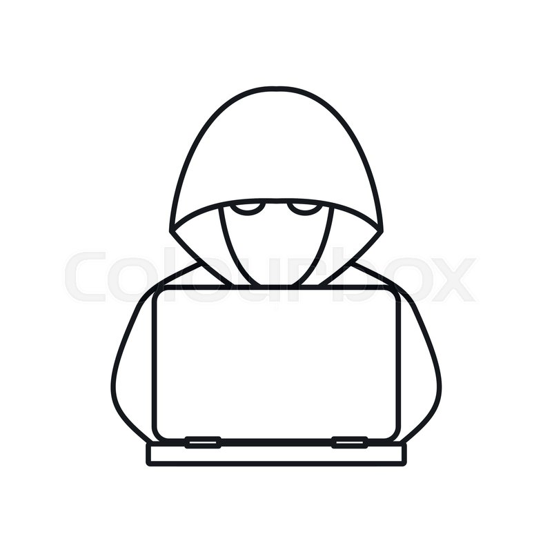 Computer Hacker With Laptop Icon In Stock Vector Colourbox