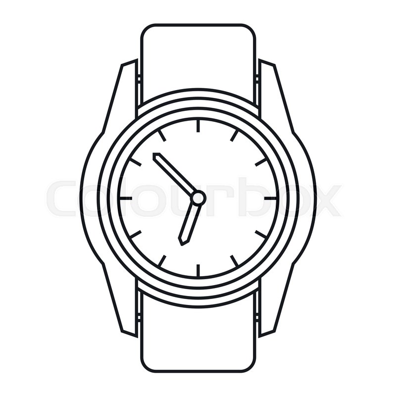 Watch icon in outline style isolated on white background ...