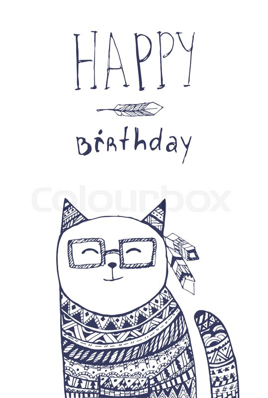 Happy Birthday Card With Hand Drawn Cat Stock Vector Colourbox