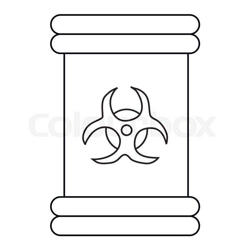 Biohazard Symbol Sign Icon In Outline Style Isolated On White