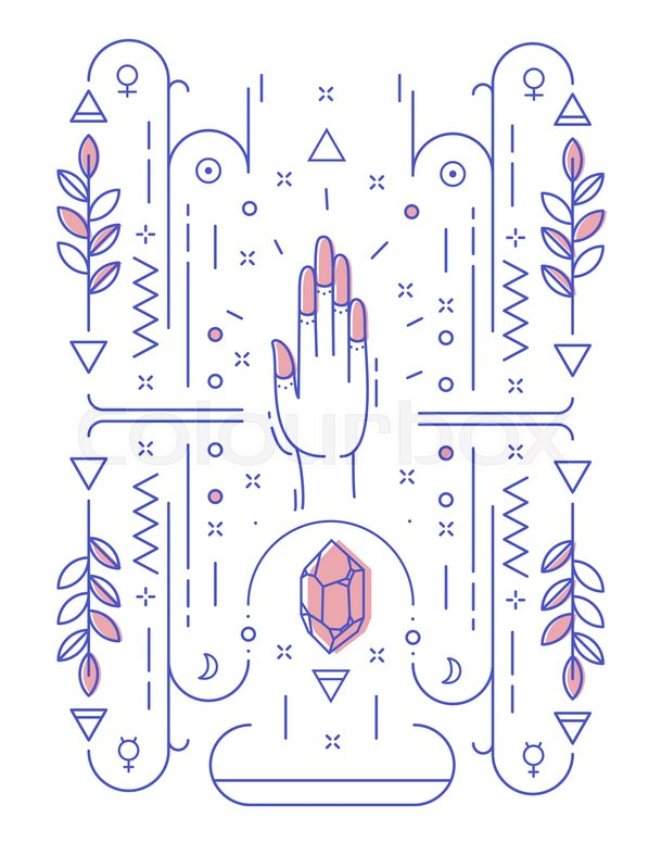 Abstract Illustration With Geometric Symbols And Hand No Hidden