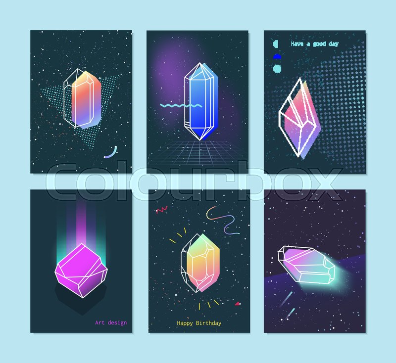 Bright backgrounds set of neon space 80s style crystals with a triangle. Trendy hipster retro background with elements. Hipster gift cards, vector