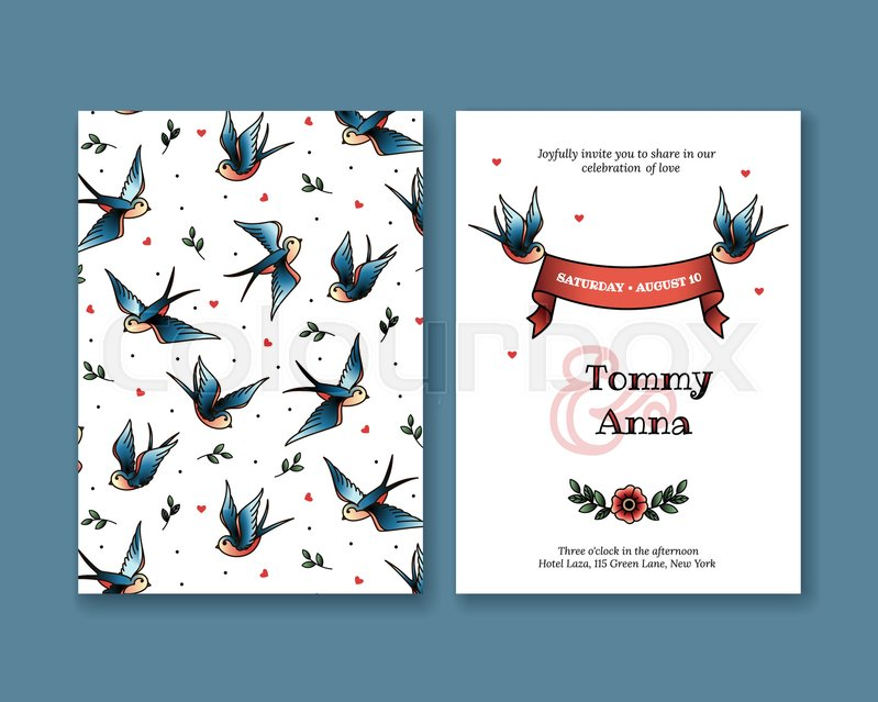 Vector invitation with swallows in old school style tattoos wedding vector invitation with swallows in old school style tattoos wedding invitation collection greeting card with birds and ribbon elegant invitation stopboris Choice Image