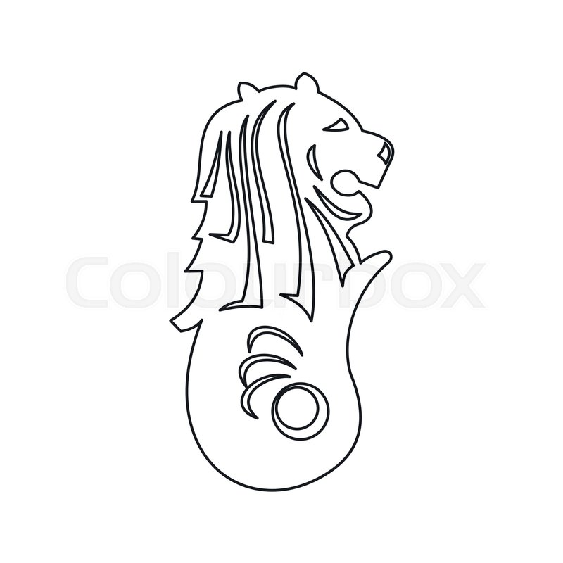 Merlion statue, Singapore icon in outline style isolated on white background, vector