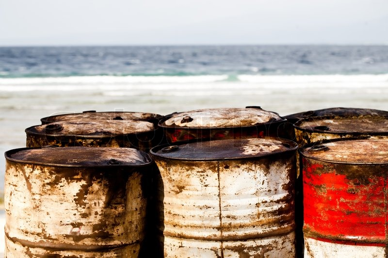 Waste Oil Drums On The Beach Stock Photo Colourbox