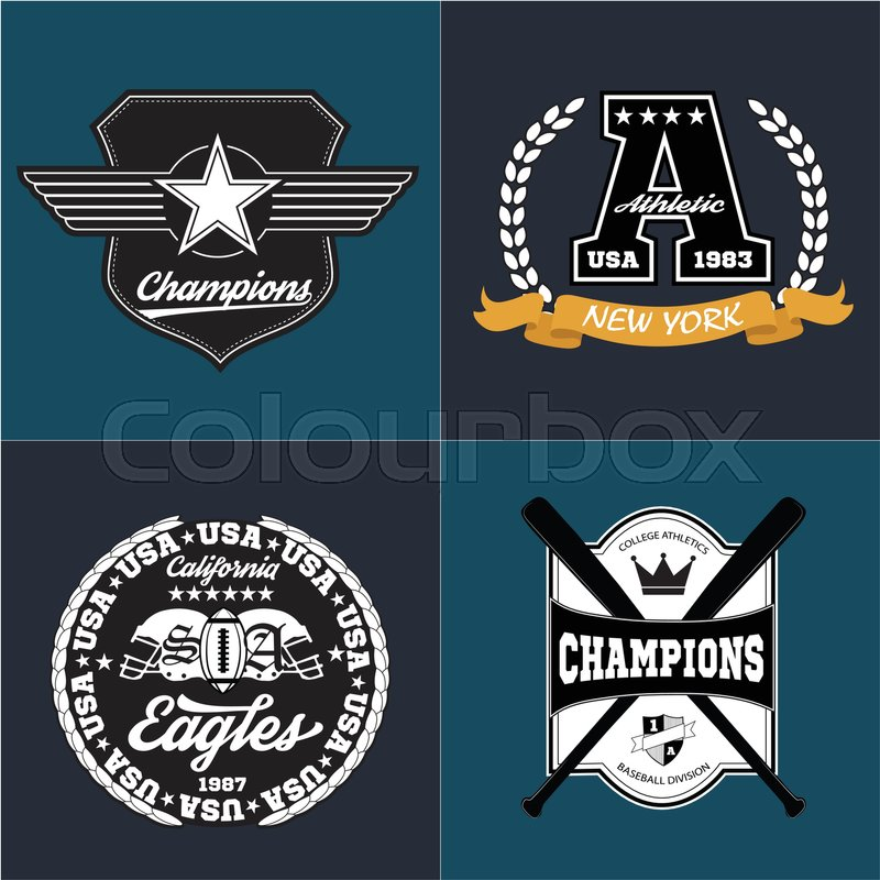 5c740cbcc Sport athletic champions college baseball football logo emblem collection.  Vector Graphics and typography t-shirt design for apparel.