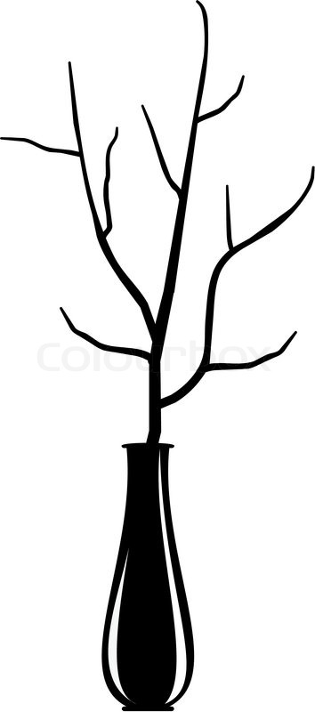 Isolated Silhouette Illustration Dry Branch Of The Tree In An