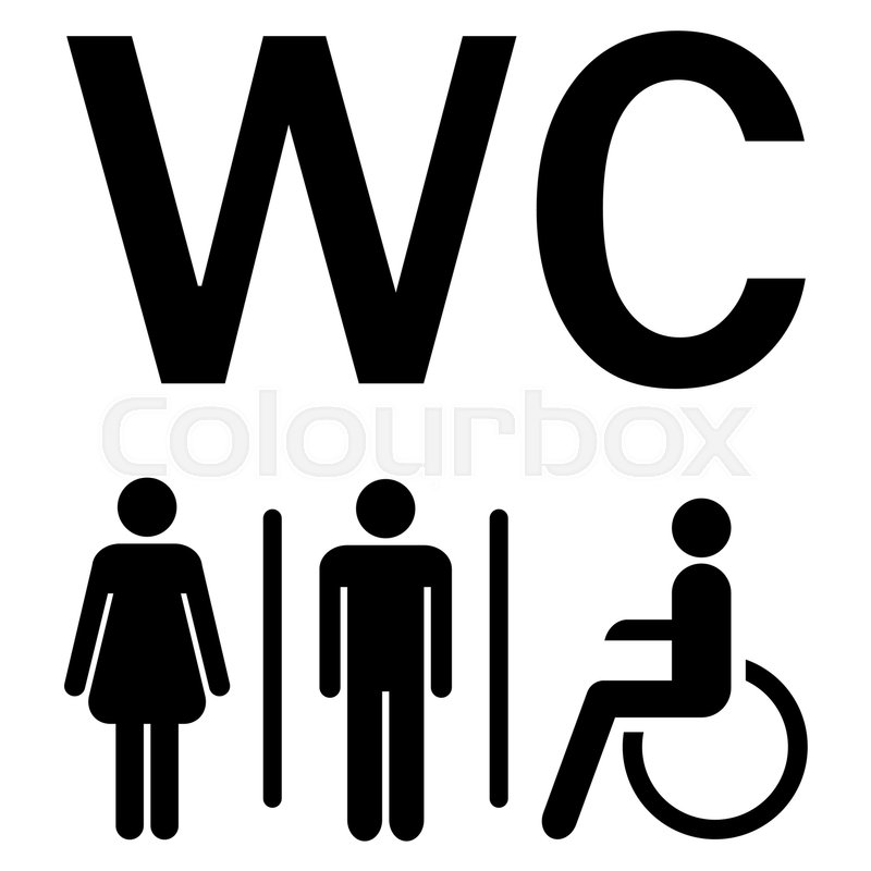 Charming Silhouettes Of Man, Woman And Wheelchairs Showing Water Closet Area (WC),  Vector