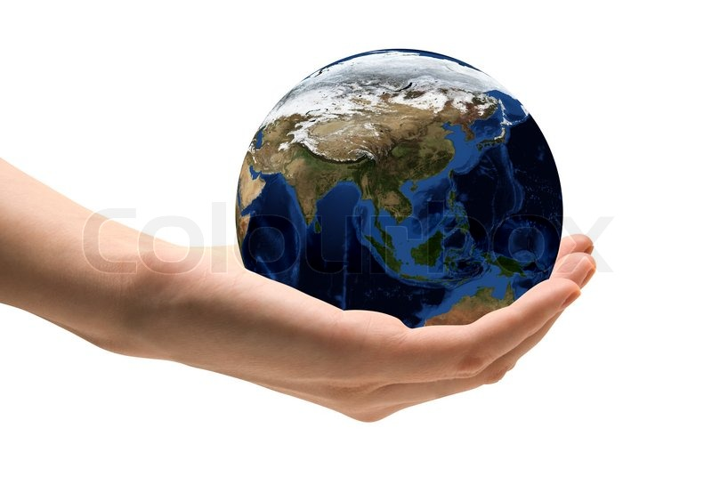 World Map On Hands.Human Hand Holding The World In Stock Photo Colourbox