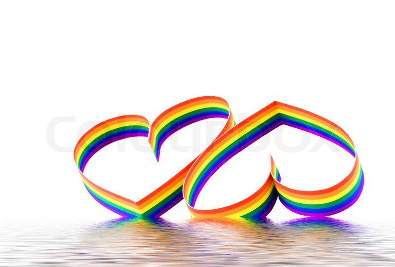St. Valentine Day.Two Herz , Farbe eines Sechs-Farben- Homosexuell ...