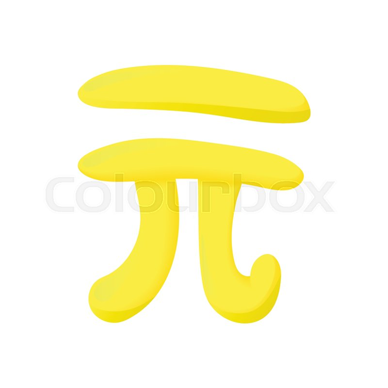 Pi Sign Icon In Cartoon Style Isolated On White Background Math