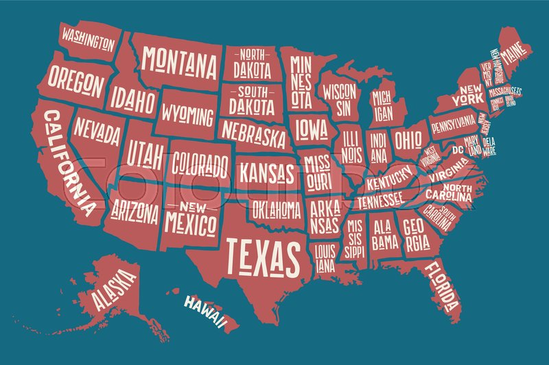 Poster map of United States of America with state names. Print map ...