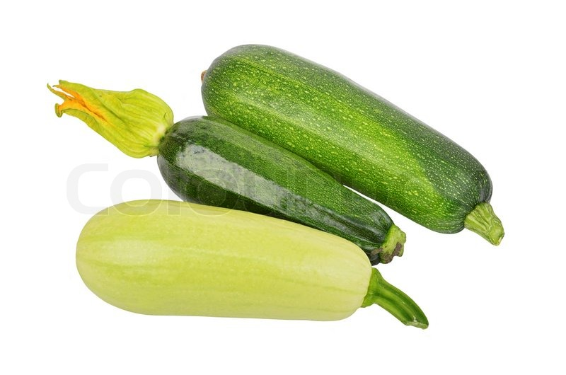 Green vegetable marrow (zucchini), isolated on white ...