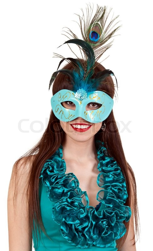 Brunette Girl In A Blue Dress And Masquerade Mask On White Background