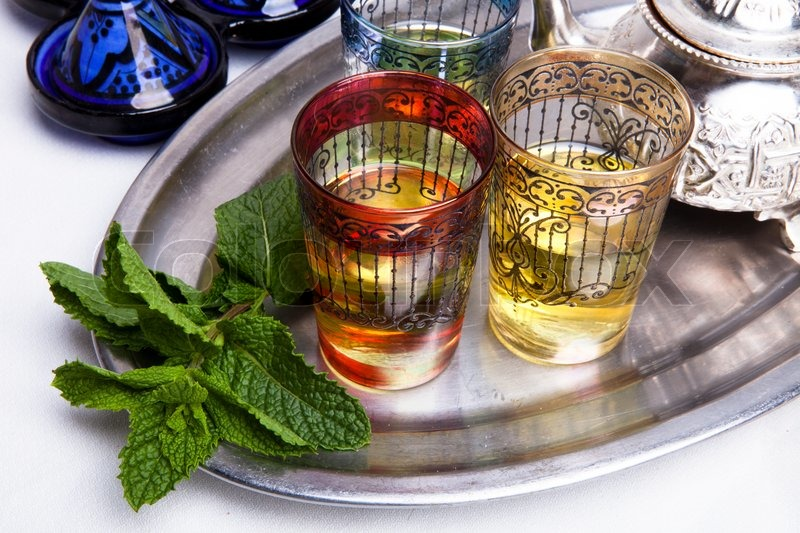 Stock image of 'Traditional Moroccan mint tea'