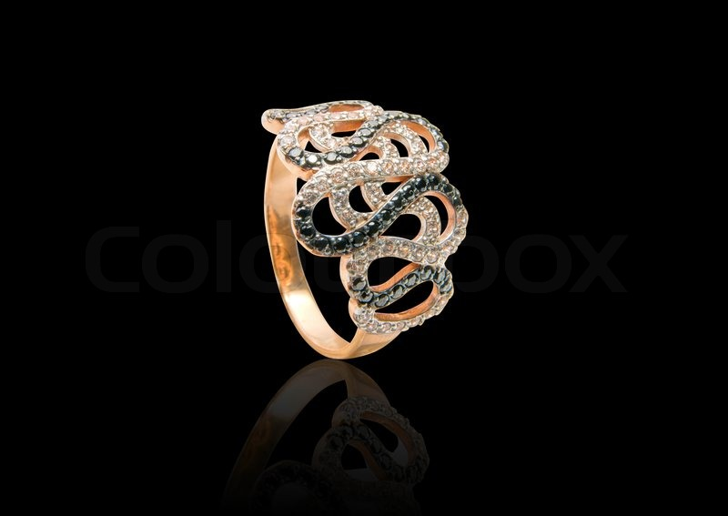 Beauty Gold Ring With Diamond Gems On Stock Photo