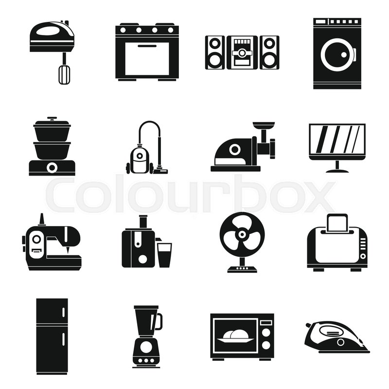 Household Appliances Icons Set In Simple Style Home