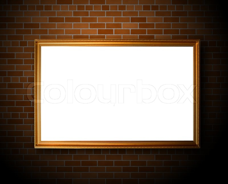 Empty frame hanging on the brick wall stock photo for Hanging frames on walls