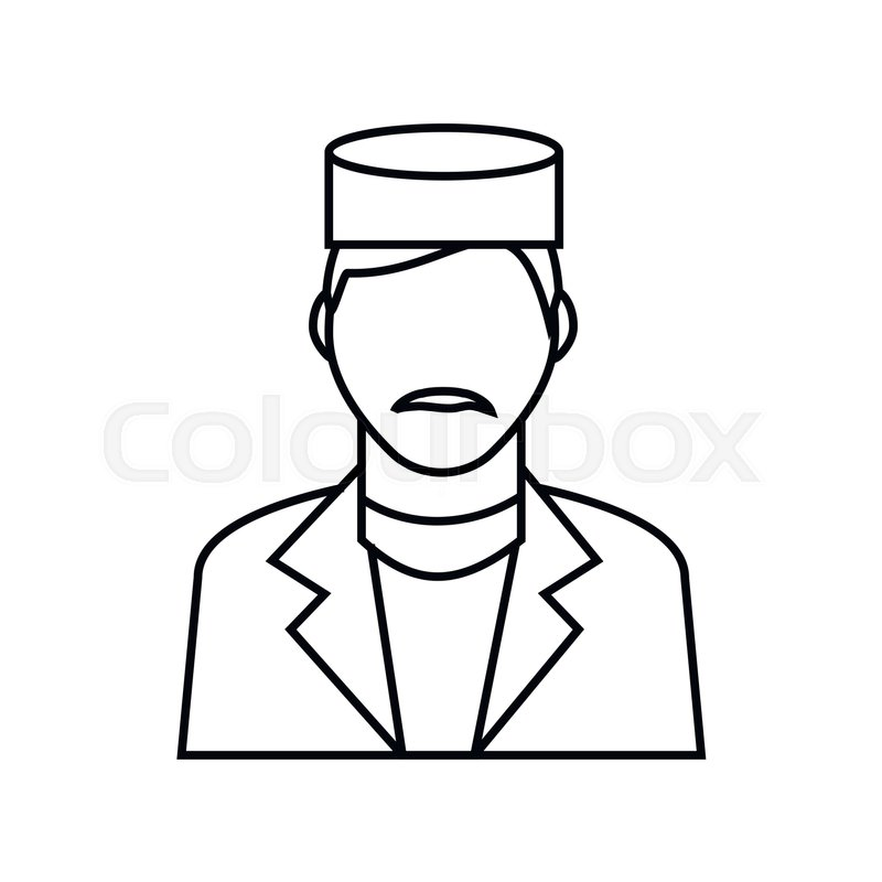 Doctor Icon In Outline Style Isolated On White Background Medicine