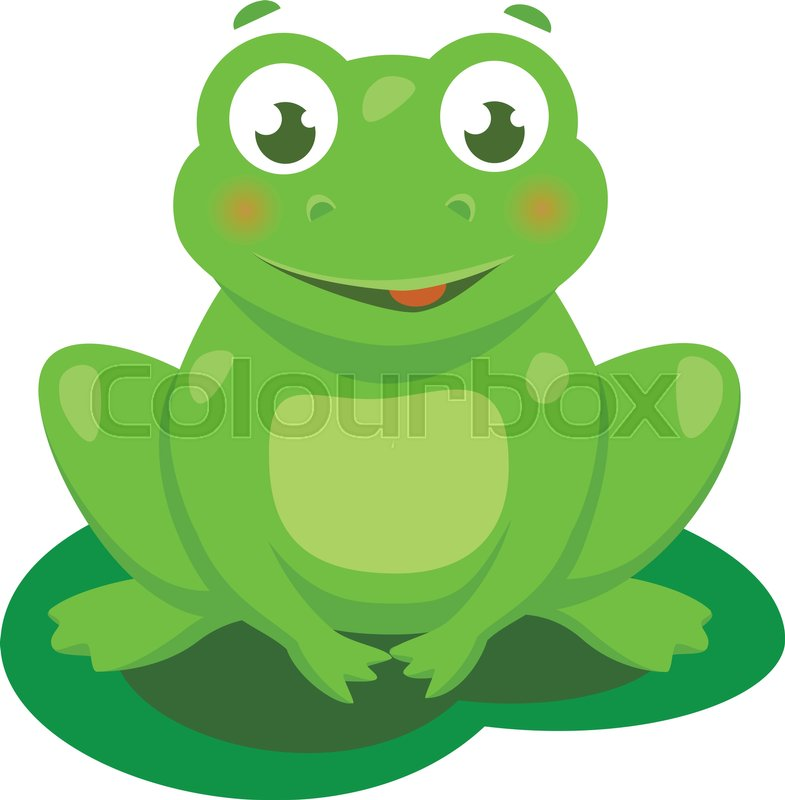 Cute frog cartoon vector isolated illustration stock