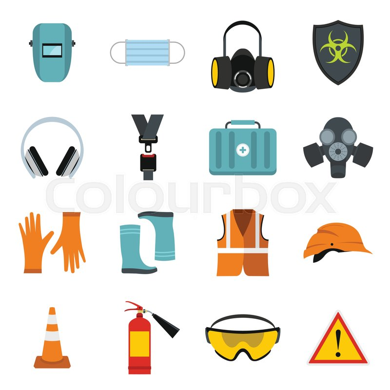 flat safety icons set universal safety icons to use for web and