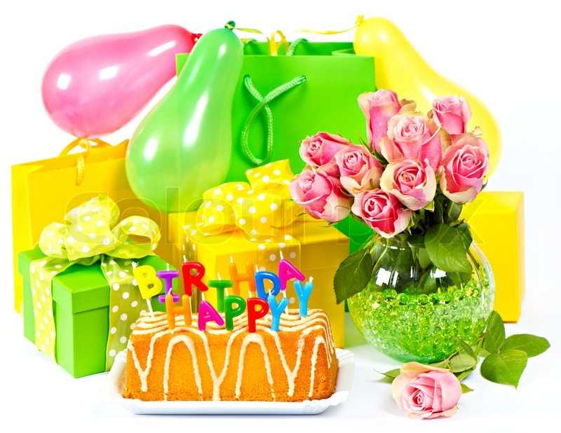 Birthday decoration flowers and gifts card concept Stock Photo