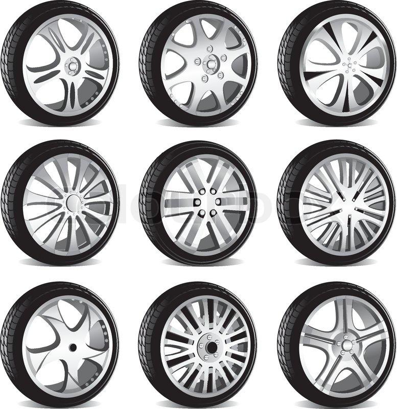 Automotive Rad mit Alu-Felgen und Low-Profile-Reifen | Vektorgrafik ...
