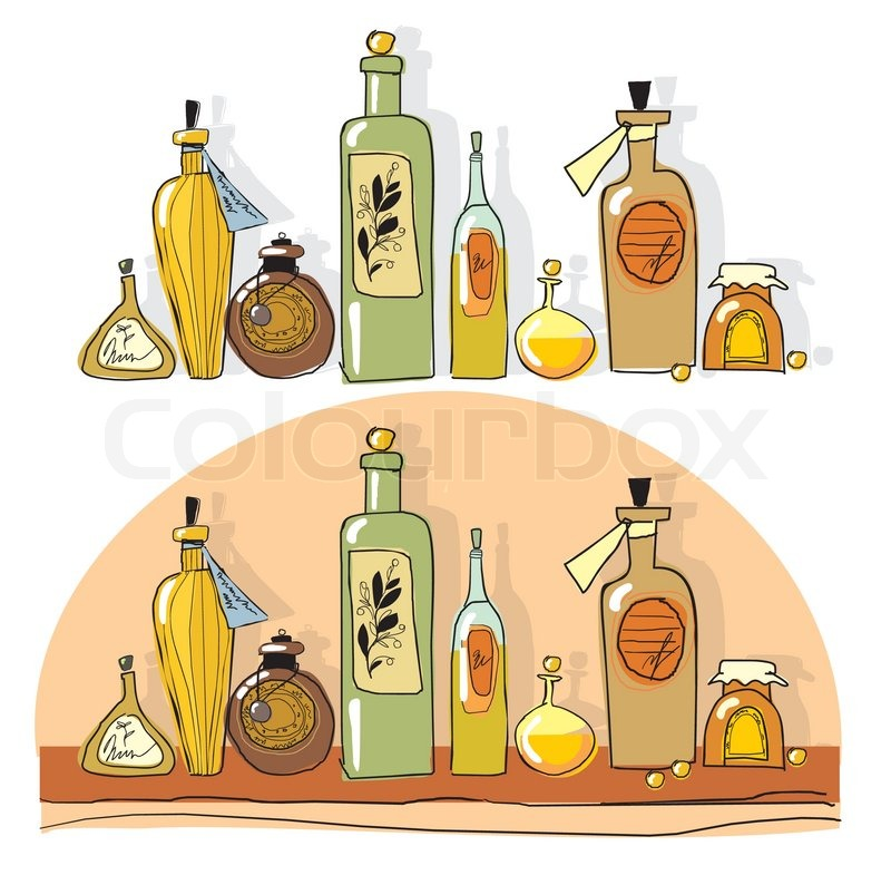 Yellow Small Bottles Of Essential Oil Stock Vector