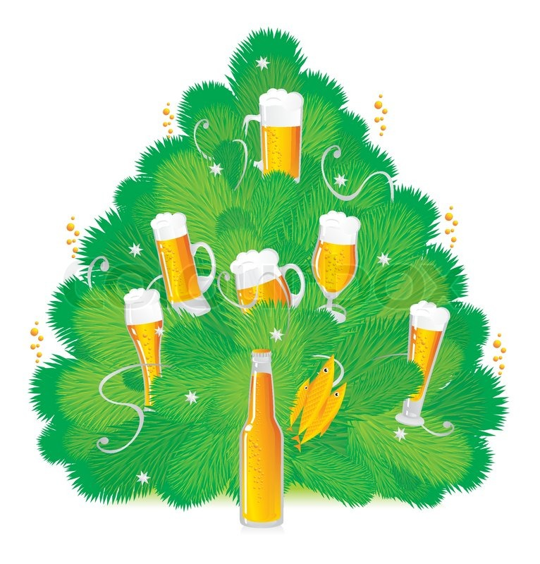 Bottled beer on a Christmas tree   Stock Vector   Colourbox
