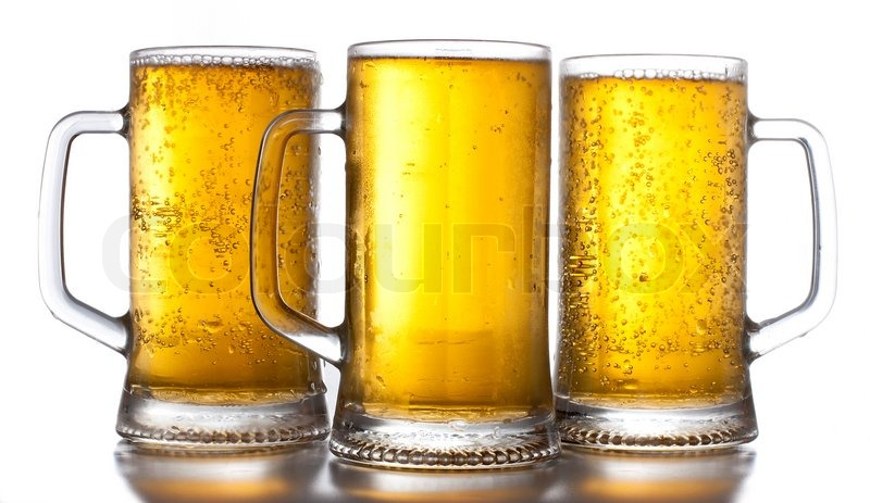 beer mugs on white background stock photo