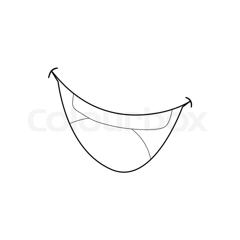 mouth clown icon in outline style isolated on white background