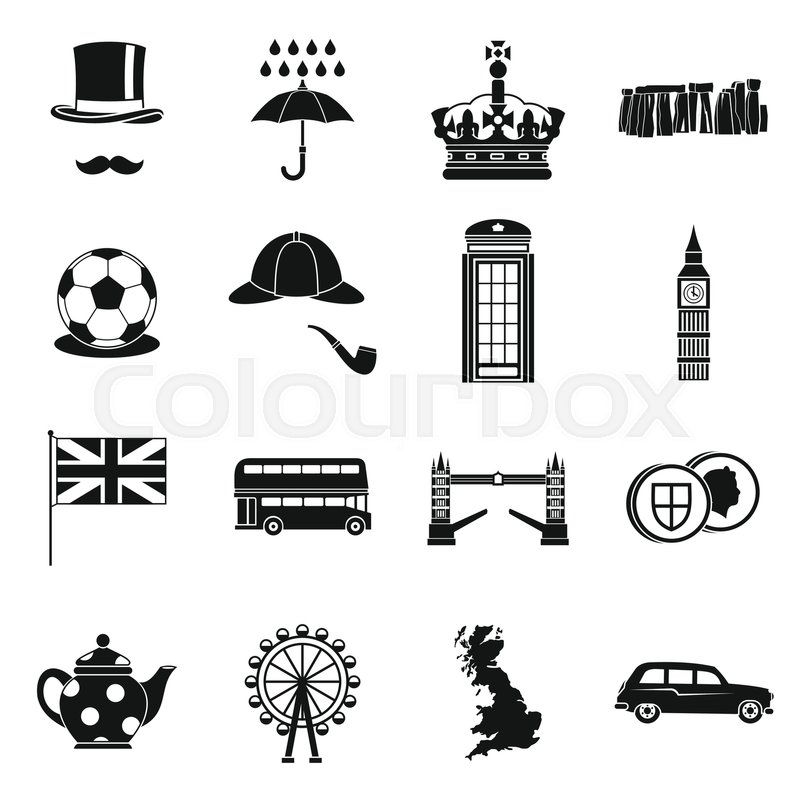 great britain icons set in simple style london set collection