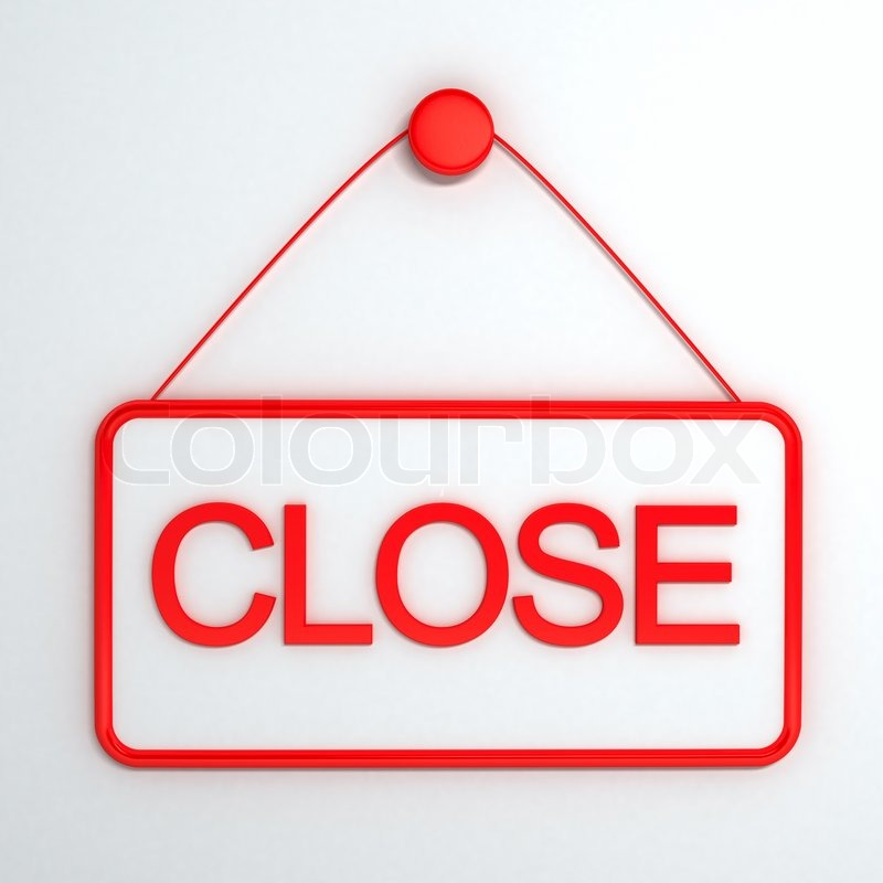 close sign over white background computer generated image stock