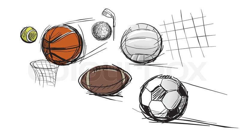 Balls for different kinds of sports: tennis-ball, basketball, football, volleyball, a ball for a golf and for Rugby football, vector
