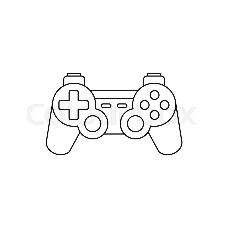 Joystick For Gaming Console Icon In Outline Style Isolated On White - Video game outline