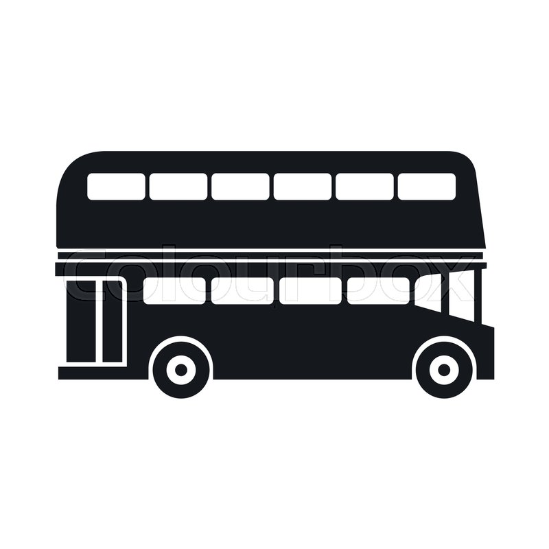 Double decker bus icon in simple style isolated on white ...