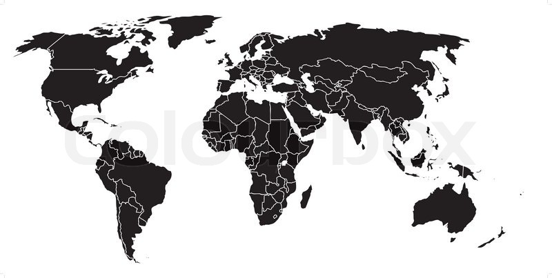 Black blank world map with country borders superimposed stock black blank world map with country borders superimposed vector gumiabroncs Images