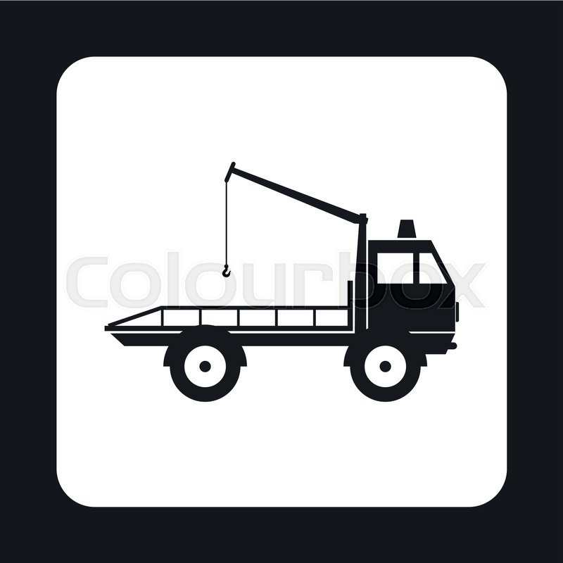 Tow Truck Icon In Simple Style Isolated On White Background