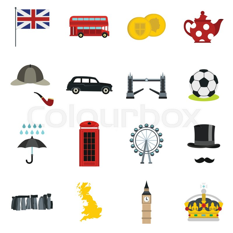 great britain icons set in flat style london set collection vector