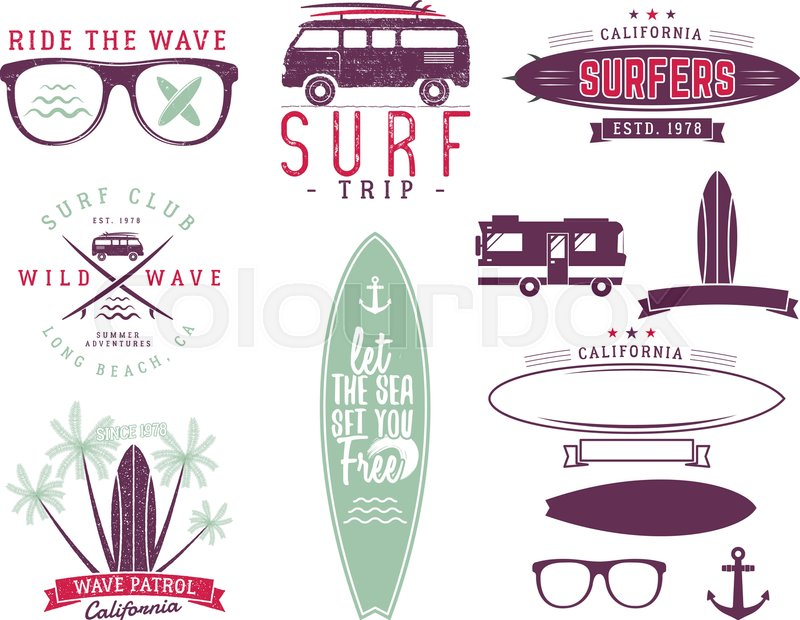 Set of Vintage Surfing Graphics and     | Stock vector