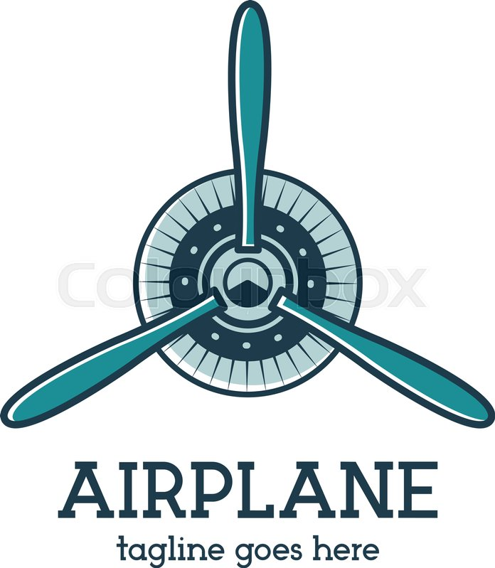 Airplane Propeller Logo Template With Radial Engine Retro