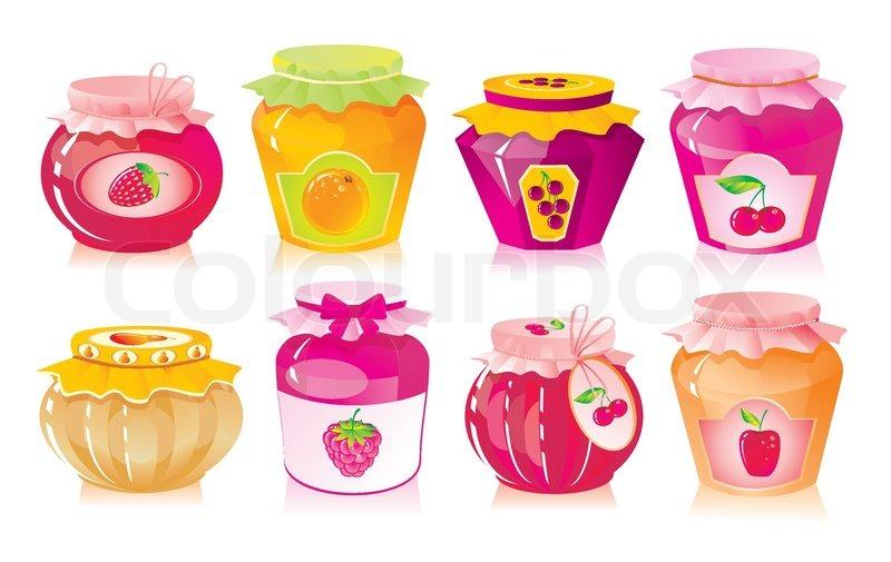 Set von gl sern mit obst und beeren marmelade vektorgrafik colourbox - Marmelade einkochen glaser ...
