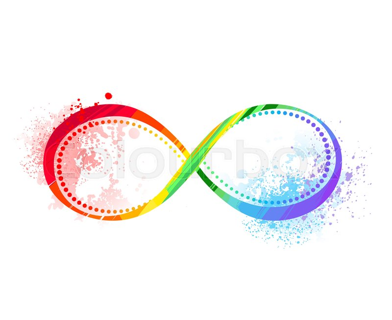Infinity Symbol Painted Bright Rainbow Paint On The White Background